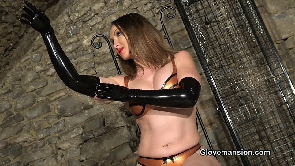 image Handjob with leather gloves very hot